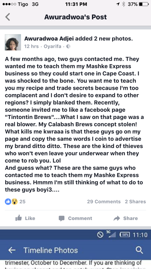Owner of Calabash Brews complains  on Facebook about stolen concept