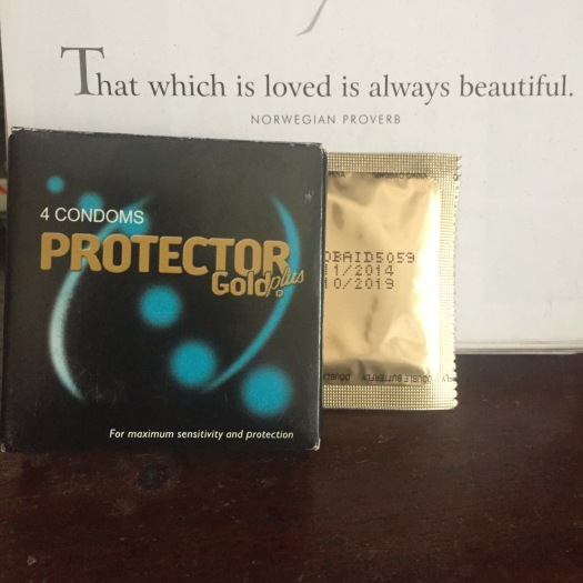 Condoms and a quote to emphasize what is precious