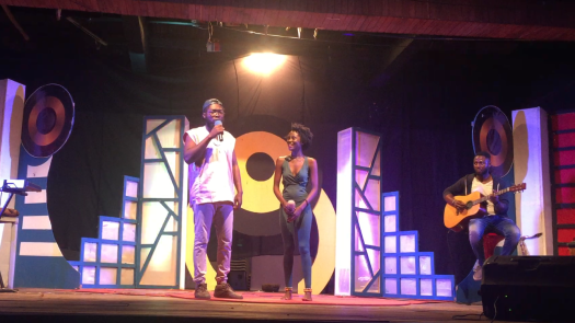 Daniel Quist performing with Cina Soul and The Musical Lunatics