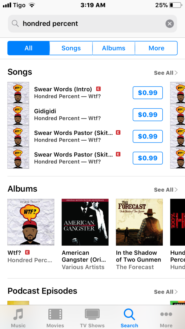 Screenshot of Hondred Percent's WTF? on iTunes