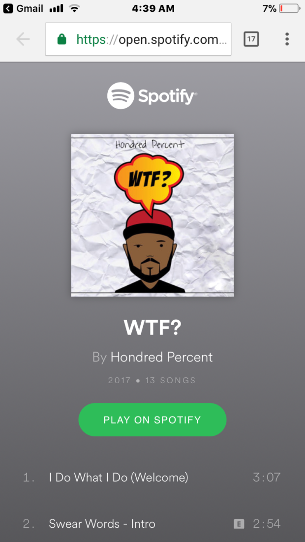 Screenshot of Hondred Percent's WTF? on Spotify