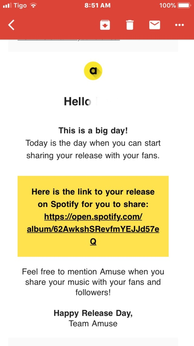 My release day email from Amuse